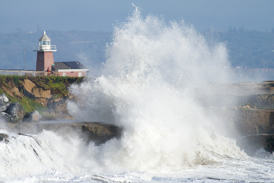 As a winter storm moved out of the area, large waves were still crashing ashore in Santa Cruz.